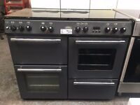 BELLING free standing dual fuel range cooker 100 cm width black in good condition & fully working