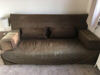 Ikea large brown fabric cover double sofabed - 196cm width x 73cm depth