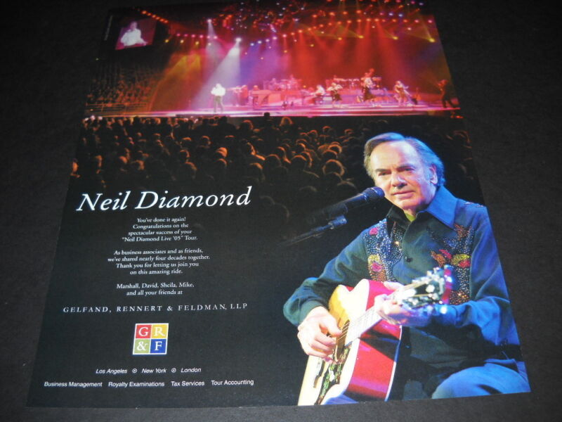 NEIL DIAMOND on tour in 2005 PROMO DISPLAY AD mint condition