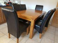 6X Dining Chairs Brown faux leather oak legs