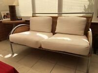 Conservatory 2 Seater Cane and Metal Fame Sofa