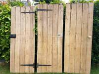 Edwardian antique stripped pine ledge and brace doors