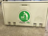 Wall mounted baby changing unit, ideal for pub or cafe