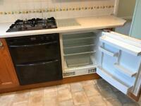 Kitchen appliances Gas Hob, double oven, integrated dishwasher and integrated fridge
