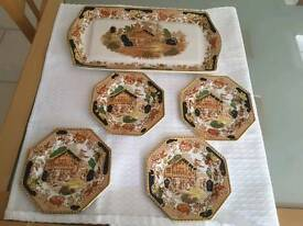Vintage Swiss Pastime, serving Tray and 4 Plates, By TD Hughes