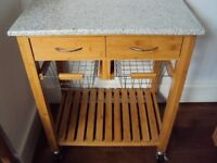 Marble topped Bamboo kitchen unit/trolley