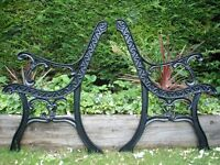 Garden Bench Ends - Professionally restored (Sand blasted & power coated) pair