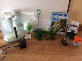 Fish tank and accessories for sale - ideal starter set