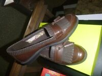 NEW IN BOX HOTTER HAMLET BROWN LEATHER LOAFERS SHOES SIZE 6