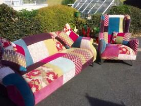 Beautiful Patchwork Sofa and Chair