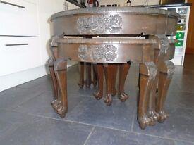 childs hardwood oriental carved table