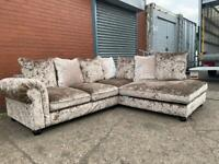 Gorgeous crushed velvet corner sofa delivery 🚚 sofa suite couch furniture