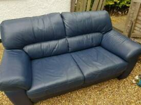 *FREE!!!* Two Seater Real Leather Sofa. Navy Blue.