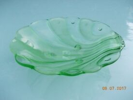 Vintage Green Glass Footed Dish