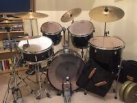 Pearl Target Series CX200. Black Drum Kit with extras