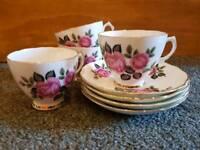8 Piece Floral Pink Bone China Set