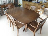 G Plan extending Teak Dining Table & 6 chairs.