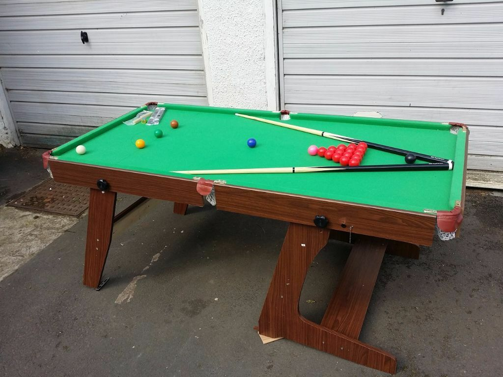 Hy Pro 6ft Folding Snooker Amp Pool Table With 2 Cues And