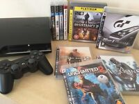 GREAT BUNDLE - PS3 Slim Console 320GB + Controller + 9 Huge Games inc Uncharted 2 COD 2 & More