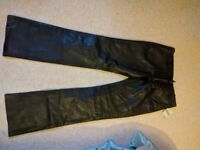 Brand new with tag. Genuine Leather Trousers. Ladies, Small Size 12 In Black.
