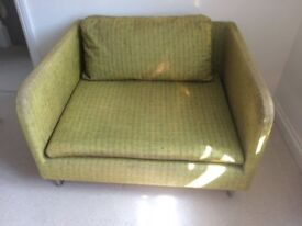 Designer's Guild love seat/small sofa in moss green