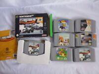 7 x Nintendo 64 N64 Games-Super Mario 64, Star Wars, Bomberman 64 F1