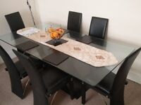 Modern Black Dining Table | 6 Leather Chairs | Tempered Glass