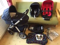 **iCANDY APPLE TRAVEL SYSTEM ** REDCURRANT FABRIC PACK * CARRYCOT *MAXI COSI CAR SEAT *ISOFIX BASE