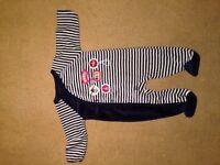 NEVER WORN. Tu Navy/white stripy onesie. Aged up to 3 mths