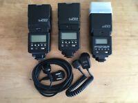 Canon Speedlite 540EZ x2, Canon Speedlite 430EZ, Off Camera Cord 2 & HSA-2 Cord