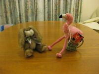 two furry creatures: flamingo and rabbit