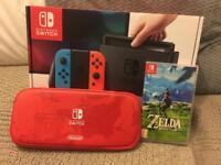 Nintendo Switch + Zelda: BOTW + Carry Case + Screen Protector