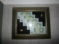 Two genuine 200 year old japanese 2bu gold coin bars + 5 new consecutive un-cerculated £1 notes