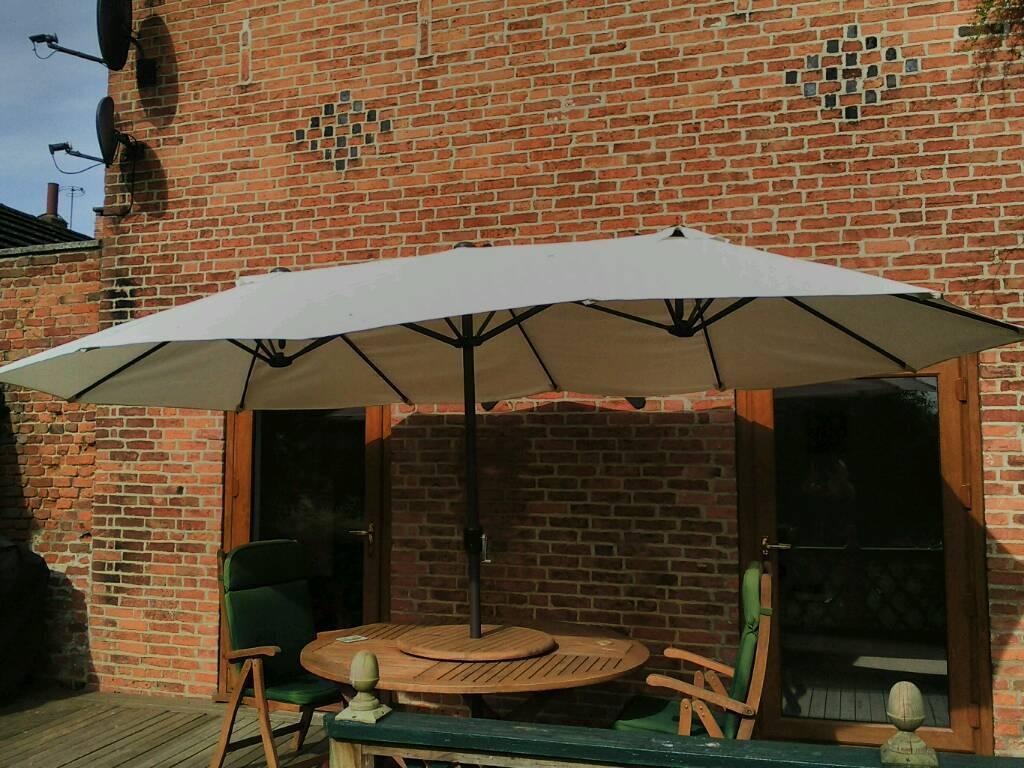 4.6M Patio Double Designed Sun Umbrella Garden Parasol Patio Canopy ...