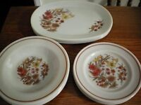 VINTAGE PYREX JAJ HARVEST STEAK PLATES, SOUP PLATES, SIDE PLATES