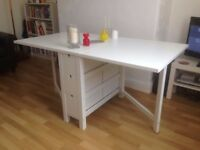 FREE DELIVERY IKEA NORDEN WHITE GATELEG FOLDABLE DINING TABLE WITH STORAGE BOXES GREAT CONDITION