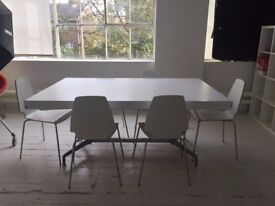 White Wooden Table with 6 Chairs