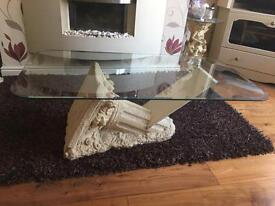 bevelled edge glass coffee table