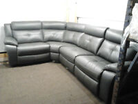HARVEYS LANGDALE CORNER SOFA ELECTRIC RECLINER BLACK LEATHER