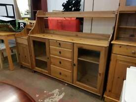 Large pine sideboard and matching cabinet