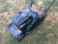 Hayter Harrier 48 pro petrol lawnmower with roller and collector
