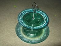 retro 2 tier cake stand in excellent condition