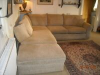 This is a beige corner sofa with footstool, it is 3.5 yrs old, good condition please see photos