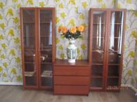 """IKEA"" 2 ""Billy"" book shelfs with glass doors and chest of drawers Possible to buy separately"
