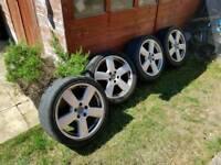 "Audi 18"" S-line alloys 5x112, matching Bridgestone tyres 6mm"