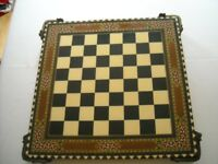 Chess Board - decorative raised wooden board with glazed surface measuring 45 cms x 6cms high