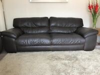 Italian Brown Leather Sofa with 2 Armchairs