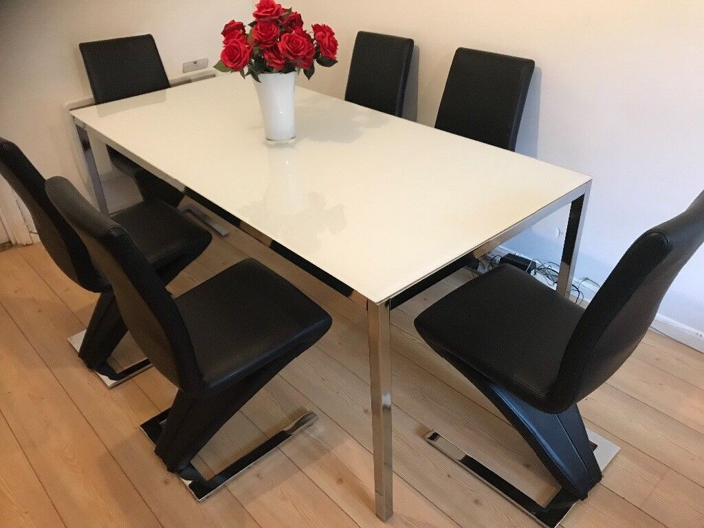 Cool Dining Table White Gloss Glass And 6 Z Chairs In Wolverhampton West Midlands Gumtree Machost Co Dining Chair Design Ideas Machostcouk