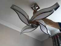 Chrome and White Ceiling Light Fitting in Excellent Condition