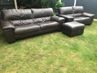 Dfs brown leather 3 piece sofa suite excellent condition can deliver locally.
